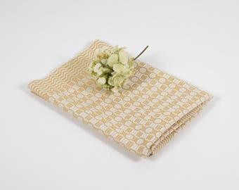 Vintage Tablecloth Scandinavian Handwoven Folk Art Dräll Swedish Gold Yellow Linen Nordic Handmade Textile Home Decoration Made in Sweden