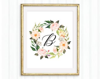 Initial B, Printable monogram, Floral letter, Letter B, Floral wreath initial, Custom initial, Monogram wall art, Thypography, Nursery
