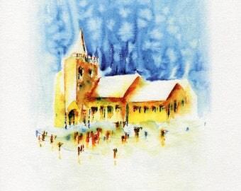 Watercolour Church Print, Wall Art