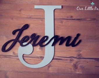 Large Capital Letter with Name, Custom Nursery Decor, Personalized name on Large Letter, Baby Nursery Wall Hanging, Baby Name Sign, Letters