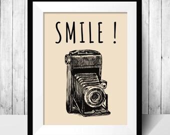 Printable poster, Digital Download, Wall decor, Fresh poster, smile camera