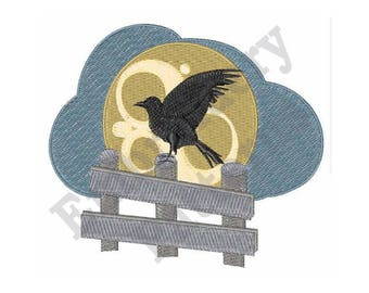 Raven On Fence - Machine Embroidery Design