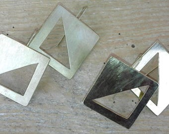 Graphic Brass Square earrings. Minimal