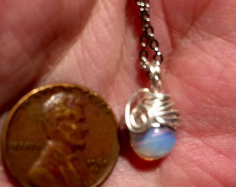 Tiny Opalite Seaopal Hand Wire Wrapped pendant