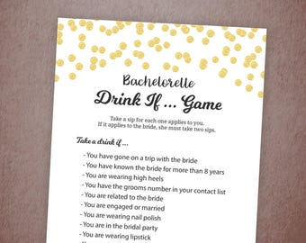 Bachelorette Drink If Game, Gold Confetti Drinking Game, Bachelorette Games, Bridal Shower, Wedding Shower, Hen Party Game, Take a Sip, A001