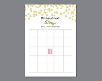 Bridal Shower Bingo Cards Game, Gold Polka Dots, Printable Bingo Cards Template, Wedding Shower Games & Activity, Instant Download, A004