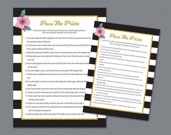 Pass the Prize Game, Pass the Gift, Pass the Parcel Rhyme Printable, Kate Spade, Bridal Shower Games,Stripes, Wedding Shower Games, A014