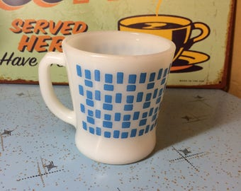 Vintage Fire King Blue Geometric MOD  ATOMIC Mug
