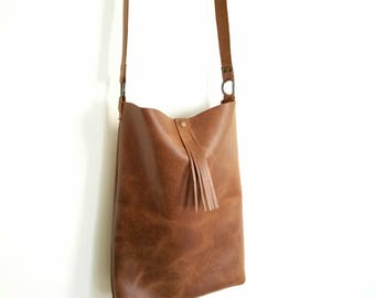 Brown leather bag handmade by me :)