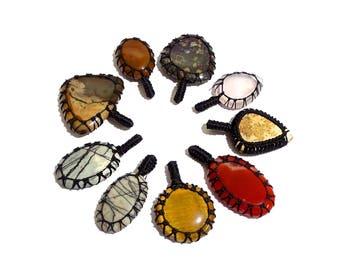 9 Piece Natural Stone Thread Pendent Gemstones, Thread Pendant Handmade Gemstone, jewelry Pendant | G3953