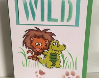 Handmade card - wild animal fun