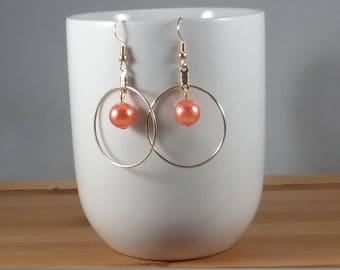 Golden Toned Hoops with Orange Glass Pearls