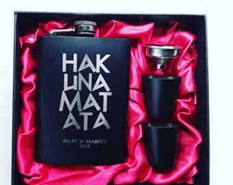 Hakuna Matata // Engraved Flask //Her Gift  // Funny Flask // Lion King // Party Favor // Hip Flask for Ladies // 21st Birthday Gift // 7 oz