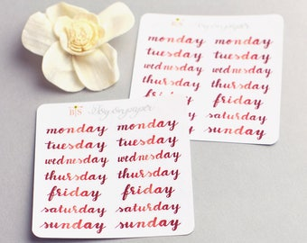 Smaller Days of the week hand lettered planner stickers in Summer Red