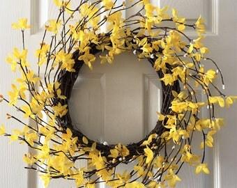 Spring wreath for front door ,Flower berry wreath, Summer wreath for front door,  Flower wreath, Front door wreath, Everyday wreath.