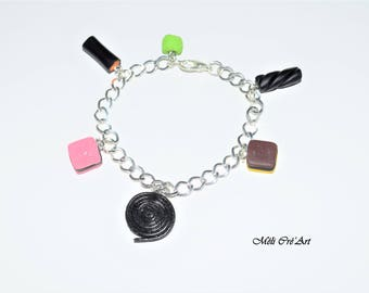 Bracelet silver Gourmet candy girl English licorice