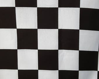Black White Check Fabric Jumbo 2.5 Inch Squares By the Yard Cotton 36 Inches Long