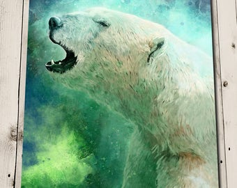 Bathroom Wall Art - Polar Bear Painting Print - Aurora Borealis - Northern Lights - Blue and Green Art - Animal Head Portrait Painting