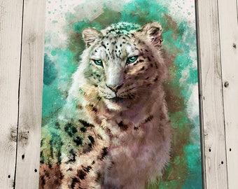 Snow Leopard Print - Snow Leopard Art - Snow Leopard Painting - Leopard Wall Art - Unusual Wall Art - Wildlife Art - Wildlife Prints