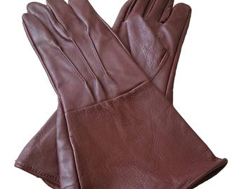 Medieval Renaissance Gauntlet oxblood leather gloves long arm cuff