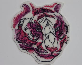 Animal  Iron-on Patch. Embroidered Patch. Sew-On Patch. Painted Tiger Patch