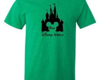 Disney World Castle with Mickey Mouse Ears and Year Adult Unisex Tshirt