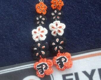 Flyers Earrings-Philadelphia Flyers Crochet Earrings