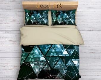 Triangle Geometric,Geometric Duvet Cover,Twin Full Duvet,Queen Duvet,King Duvet,Green Bedding,Modern Bedding,Art Bedding,Polygon Geometric