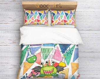 Back to School Bedding Set,Teenage Bedding,Kids Bedding,Children Bedding,Teen Bedding,Art Bedding,Creativ Bedding