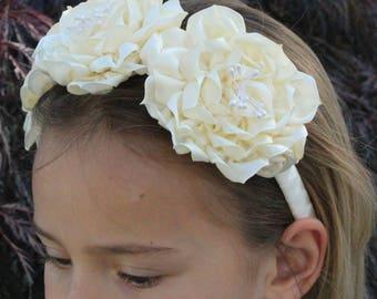 Headband,Cream Flowers, Kanzashi Flowers,Flowers Girl,Headband,Wedding,Hair Accessories,Baby Showers,Girl Headband,Accessories,Baby Headband