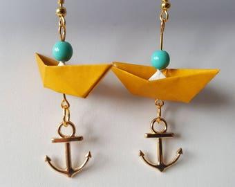 Mustard yellow boat origami earrings