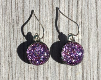 Dichroic Fused Glass Earrings - Pink Crinklized Dichroic Earrings with Solid Sterling Silver Ear Wires