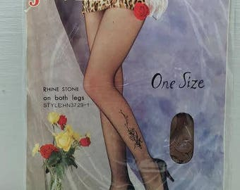 Vintage Retro Javel Brown Floral Fashion Pantyhose Nylons Stockings Rhinestones One Size NOS in Orig Pkg 1980s