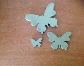 set of 3 butterflies green carved wood