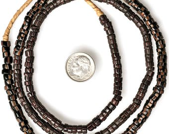 Long 30 Inch Strand of 5-6mm Drawn Venetian Striped Pony Beads  - Vintage African Trade Beads - PY85