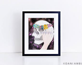 Human Skull Art Print/Watercolor Painting/ Skeleton Print/Floral Anatomy Print/Gothic Decor/Flower Crown Print/ Boho Wall Decor/Skull Poster