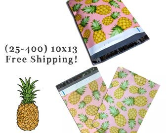 """FREE SHIPPING! (25-400 Pack) 10x13"""" Pink Pineapple Designer Poly Mailers"""