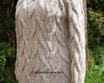 Chunky Cabled Sweater, Beige Sweater, Handknitted Sweater, Chunky Womens Sweater, Long Sweater, Chunky Cabled Jumper, Womens Knitwear,