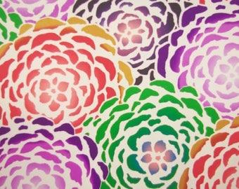 Bright Bloom Stencil Satin Fabric - 44 Inches Wide