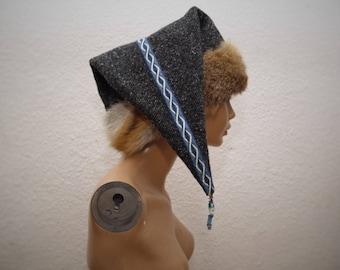 CAP, Viking, RUS, Gr. 61, wool, linen, plate lace, hand-woven, glass beads, amber, Fox, fur