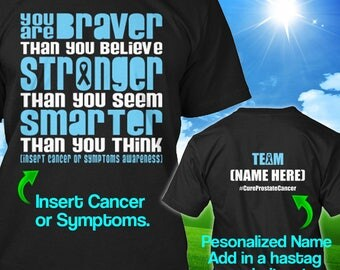 Personalized Prostate Cancer Awareness Tshirt Light Blue Ribbon Braver Support Survivor Custom T-shirt Apparel Unisex Women Youth Kids Tee