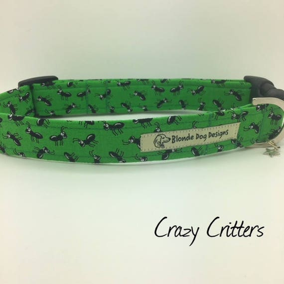 Green Dog Collar, or, Green Dog Lead, Crazy Critters, Boy Dog Collar, Dog Collar UK.