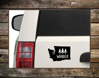 Washington  Wander Decal / 12 Colors / Nature Decals / Laptop Decals / Car Decals / Adventure Decals / Computer Decals / Window Decals