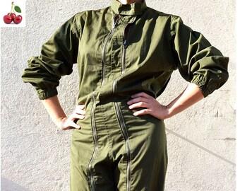 Combinaison kaki vintage français 80s Combinaison militaire unisexe kaki Combinaison hipster en coton épais French khaki army jumpsuit