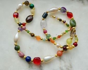 Gemstone necklace colorful