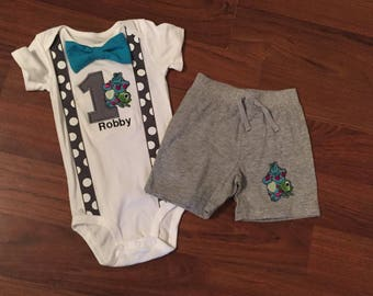 Monsters Inc Personalized Embroidered First birthday, Boys birthday outfit, Baby boy first birthday, Monsters Inc