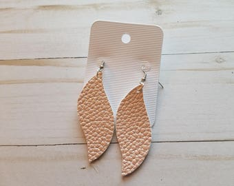 Pink Textured Faux Leather Earrings