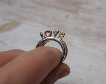 Kit Assembly of 4 rings LOVE Silver Gold rose (W07)