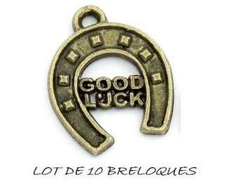 Set of 10 good luck, Good Luck Horseshoe charms bronze (R20)
