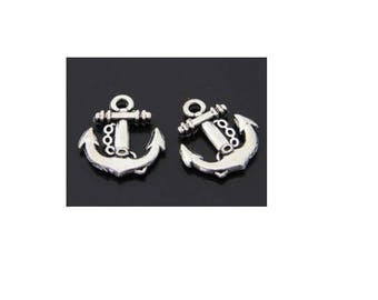 SET of 6 anchor sailor sea charms silver color (C12)